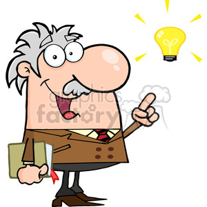 128212 RF Clipart Illustration Professor With An Idea clipart. Royalty-free image # 385125