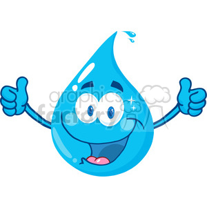 12865 RF Clipart Illustration Smiling Water Drop Showing A Double Thumbs Up clipart. Commercial use image # 385145