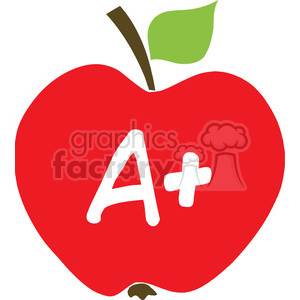 12918 RF Clipart Illustration Apple With A+
