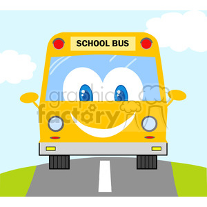 5057-Clipart-Illustration-of-School-Bus-Cartoon-Mascot-Character clipart. Royalty-free image # 385225