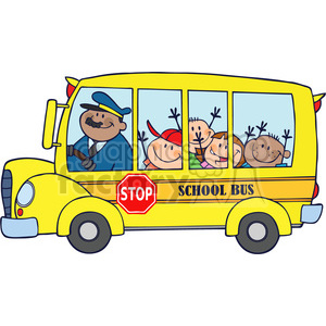 5047-Clipart-Illustration-of-School-Bus-With-Happy-Children clipart. Royalty-free image # 385255