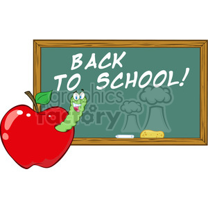 4956-Clipart-Illustration-of-Happy-Student-Worm-In-Apple-In-Front-Of-School-Chalk-Board clipart. Royalty-free image # 385265