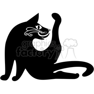 vector clip art illustration of black cat 029 clipart. Commercial use image # 385305