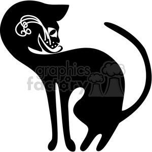 vector clip art illustration of black cat 018 clipart. Royalty-free image # 385325