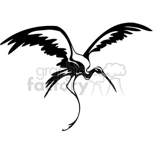 vector black+white animals wild outline vinyl-ready crane bird tattoo