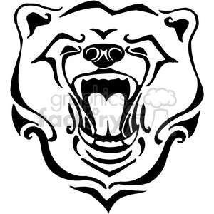 vector black+white animals wild outline vinyl-ready bear brown grizzly growl roar tattoo