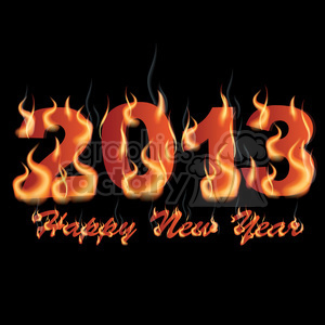 Happy New Year 2013 flaming clipart. Royalty-free image # 385978