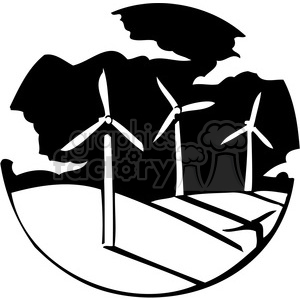 sustainable energy windmills 062 clipart. Commercial use image # 386130