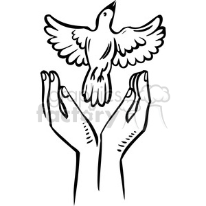 eco bird flying hands 018 clipart. Royalty-free image # 386170
