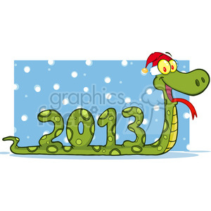 5120-Funny-Snake-Cartoon-Character-Showing-Numbers-2013-With-Santa-Hat-Royalty-Free-RF-Clipart-Image clipart. Royalty-free image # 386209