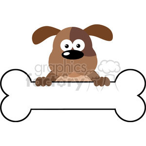 5170-Cartoon-Dog-Over-A-Bone-Banner-Royalty-Free-RF-Clipart-Image