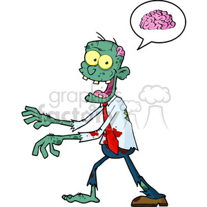 5082-Blue-Cartoon-Zombie-Walking-With-Hands-In-Front-And-Speech-Bubble-With-Brain-Royalty-Free-RF-Clipart-Image clipart. Royalty-free image # 386289