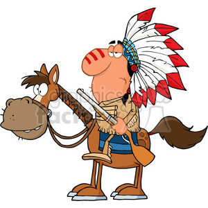 5131-Indian-Chief-With-Gun-On-Horse-Royalty-Free-RF-Clipart-Image clipart. Royalty-free image # 386309