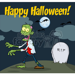 5084-Happy-Holidays-Greeting-With-Zombie-Walking-With-Hands-Royalty-Free-RF-Clipart-Image