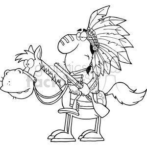 5129-Indian-Chief-With-Gun-On-Horse-Royalty-Free-RF-Clipart-Image clipart. Royalty-free image # 386329