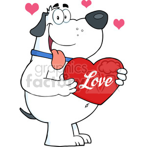 5243-Fat-White-Dog-Holding-Up-A-Red-Heart-Royalty-Free-RF-Clipart-Image clipart. Commercial use icon # 386349