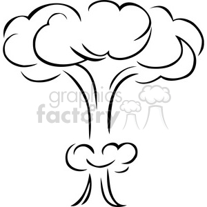 black and white mushroom cloud explosion clipart. Commercial use image # 173737