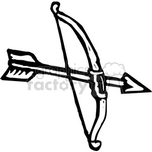 black and white bow and arrow clipart. Royalty-free image # 173681