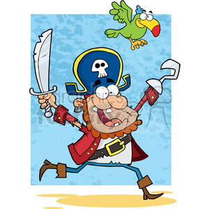 Illustration-Running-Pirate-Holding-Up-A-Sword-And-Hook-With-Parrot clipart. Commercial use image # 386495