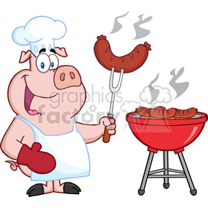 Happy Pig Chef Cook At Barbecue clipart. Commercial use image # 386535