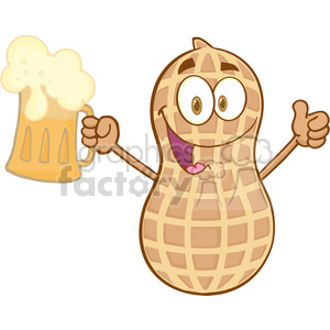 Peanut cartoon mascot character holding a beer with a thumbs up clipart. Commercial use image # 386555