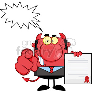 RF Smiling Devil Boss Holds Up A Contract And Hand Pointing Finger clipart. Royalty-free image # 386832