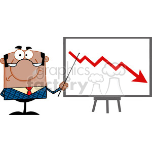 Clipart of Angry African American Business Manager With Pointer Presenting A Falling Arrow clipart. Commercial use image # 386862