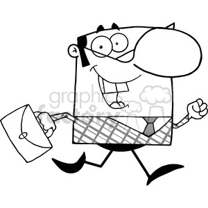 Clipart of Lucky Business Manager Running To Work With Briefcase clipart. Royalty-free image # 386902