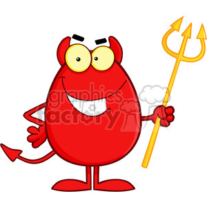 Royalty Free Smiling Devil Easter Egg Cartoon Character clipart. Royalty-free image # 386932