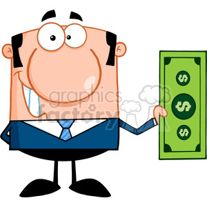 Royalty Free Smiling Business Man Holding A Dollar Bill