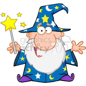 Royalty Free Funny Wizard Waving With Magic Wand clipart. Royalty-free image # 386952