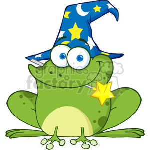 Royalty Free Wizard Frog With A Magic Wand In Mouth clipart. Royalty-free image # 386962
