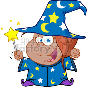 Clipart of Happy African American Wizard Girl Waving With Magic Wand clipart. Royalty-free image # 386972