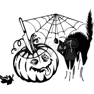 Halloween scary black+white vinyl+ready pumpkin jack+olantern black+cat