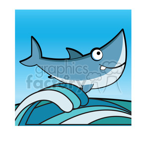 cartoon great white shark clip art jumping from water