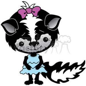 cartoon cute vector clipart clip+art skunk female girl