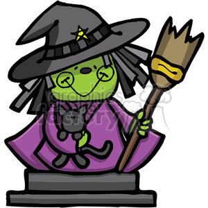 Witch with Cat in color clipart. Commercial use image # 387441