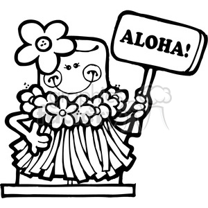 SMORE Hawaiin Aloha Girl BW clipart  Royalty-free clipart # 387492