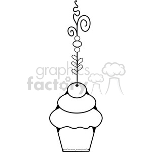 Cupcake Fancy BW-2 clipart. Royalty-free image # 387584
