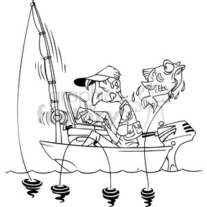 black and white cartoon man fishing in a small boat with laptop