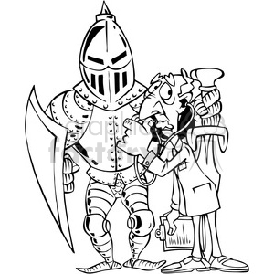 black and white cartoon knight in armor clipart. Commercial use image # 387819