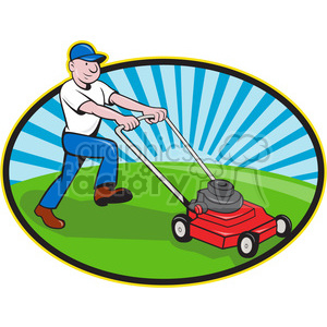 clipart - man mowing lawn.