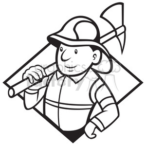 black and white fireman axe front clipart. Royalty-free image # 387893