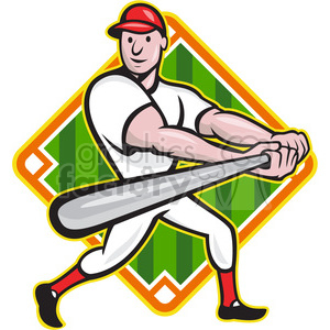 baseball player batting side low DIAMOND clipart. Royalty-free image # 387903