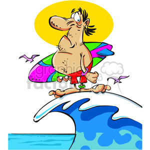 cartoon surfer standing on a wave clipart. Commercial use image # 387945