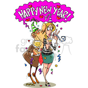 cartoon happy new year kiss clipart. Commercial use image # 387955