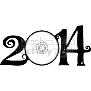 2014 with CD disc clipart clipart. Commercial use image # 387970