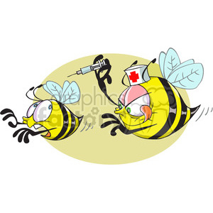 cartoon bee nurse trying give a shot