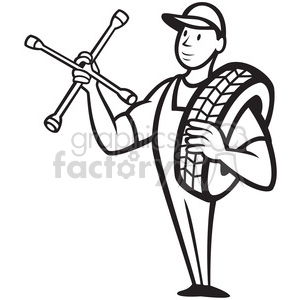 black and white mechanical carry tire shoulder wrench clipart. Royalty-free image # 388088