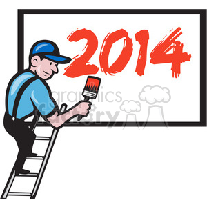 worker painting billboard 2014